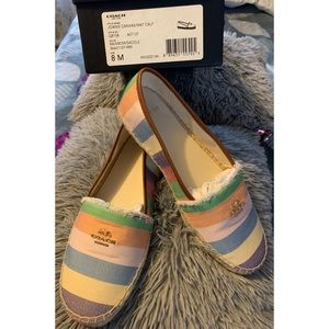 New!! Joanie Canvas Coach Espadrille shoes, Size 8